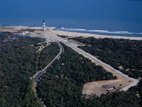 Looking northeast from above new site on February 11, 1999