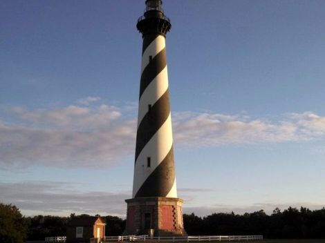 Cape Hatteras Lighthouse as sunset starts in Fall 2013.