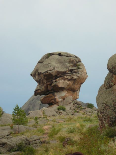 Baba Yaga, the wicked witch of Russian folklore, appears in profile in this rock formation in Bayanaul National Park, Kazakhstan. Photograph by Ekamaloff, courtesy Wikimedia. This work has been released into the public domain by its author, I, Ekamaloff. This applies worldwide.