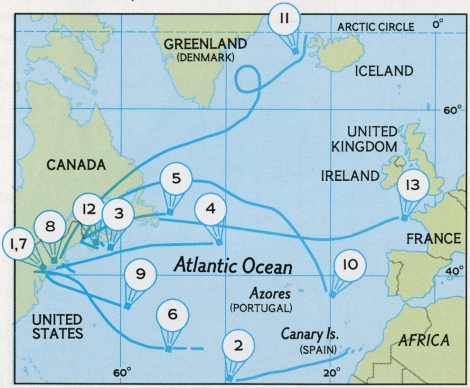 This map shows the first 13 known attempts to cross the Atlantic by balloon, from the Daily Graphic in 1873 to the Zanussi in 1978. 1. The Daily Graphic (1873) makes it about 73 kilometers (45 miles). 2. The crew of the Small World (1958) tries and east-west route, and ends up sailing about 2,414 kilometers (1,500 miles). 3. The Maple Leaf (1968) crew ditches southeast of Halifax, Nova Scotia, Canada. 4. The Free Life (1970) and her crew vanish. 5. The Yankee Zephyr (1973) crew is forced to ditch her after sparks appear. 6. The Light Heart (1974) is spotted over the Atlantic, but then disappears. 7. The Spirit of Man (1974) bursts over the New Jersey coast, killing its captain. 8. The Odyssey (1975) reaches as far as Cape Cod, Massachusetts. 9. The crew of the Spirit of '76 (1976) was rescued near Bermuda. 10. The Double Eagle (1977) came down near Iceland. 12. The crew of the Eagle (1977) ditched her southeast of Halifax. 13. The Zanussi (1978) came closest to success, ending off the coast of France. Map by Dewey Hicks, National Geographic