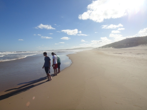 A group of students relaxing on the beach in the Eastern Cape Province, South Africa