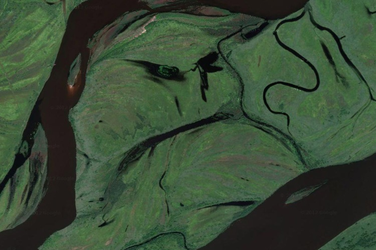 "This frowning river valley is in the Birobidzhan, the Jewish Autonomous Oblast in Russia's far east near its border with China. Screenshot from Google Maps, 47°47'17.2""N 132°22'58.8""E"