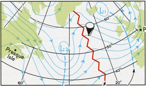 After a high pressure ridge (red line), Double Eagle II catches an air system heading for France. Map by Dewey Hicks, National Geographic