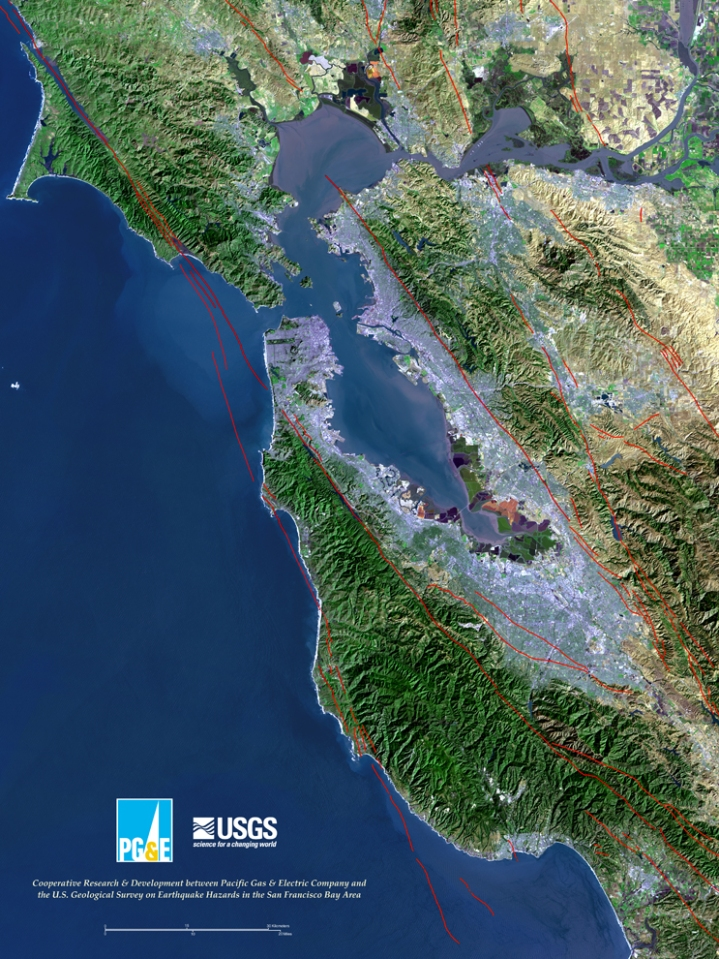 The densely populated San Francisco Bay Area is bracketed by two major fault zones: the San Andreas and the Hayward.