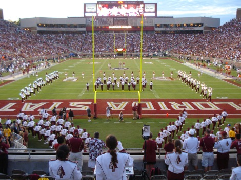 At top-ranked Florida State, student attendance at Seminole football games is down 6% over the past five years. Photograph by Ayzmo, courtesy Wikimedia. This file is licensed under the Creative Commons Attribution-Share Alike 3.0 Unported license.