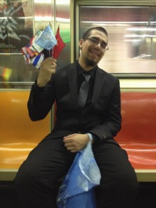 Student on the subway after visiting the UN Security Council. Photograph by Eric Carlson
