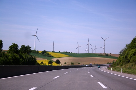 An older iconic symbol of German technological innovation—the autobahn—meets a new one: the wind farm. Photograph by Usien, courtesy Wikimedia. This file is licensed under the Creative Commons Attribution-Share Alike 3.0 Unported, 2.5 Generic, 2.0 Generic and 1.0 Generic license.