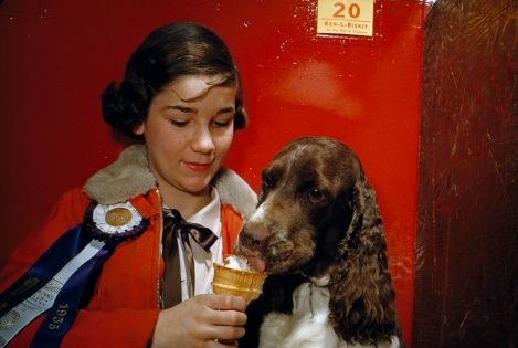 A girl feeds her dog an ice cream cone, 1954. Humans aren't the only ones who enjoy this classic summer treat. Photograph by David Boyer, National Geographic.