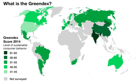 The Greendex is a quantitative study of 18,000 consumers in a total of 18 countries asked about energy consumption and conservation, transportation choices, food sources, the relative use of green products versus conventional products, attitudes toward the environment and sustainability, and knowledge of environmental concerns. Map by National Geographic