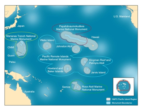 The Pacific Remote Islands Marine National Monument is just one—the biggest one!—of the marine reserves protected by the U.S. in the South Pacific. The Marianas Trench, Papahanaumokuakea, and Rose Atoll are also part of the Marine National Monument Program, implemented by President Barack Obama in 2009. Map by NOAA