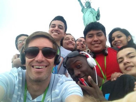 Eric with his students at the  Statue of Liberty. Photograph by Eric Carlson