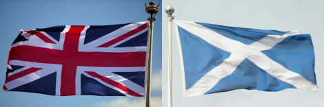Photograph courtesy United Kingdom Ministry of Defense (Union Jack) and flickrtickr2009 (Scotland), courtesy Flickr. This file is licensed under the Creative Commons Attribution-Share Alike 2.0 license.