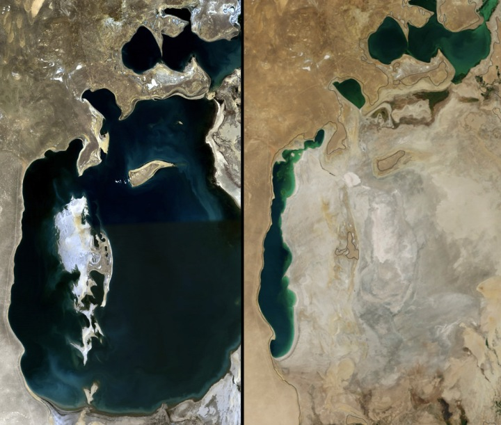 The Aral Sea was once the world's fourth-largest lake. Image by NASA (left) and NASA Earth Observatory image by Jesse Allen, using data from the Level 1 and Atmospheres Active Distribution System (LAADS)