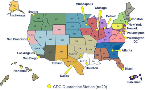 The Centers for Disease Control and Prevention (CDC) maintains 20 quarantine stations across the United States. These are not the only places people can be quarantined, however. The Nebraska Medical Center in Omaha, Nebraska, for instance, isolated and successfully treated two Ebola patients. Where is your closest quarantine station? What color is your district? Map courtesy Centers for Disease Control and Prevention