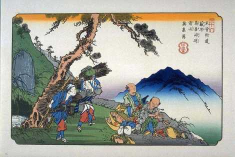 Mount Ontake has been a familiar landmark in Japan for as long as there has been a Japan! This gorgeous woodblock print shows Mount Ontake towering over resting travelers on the Nakasendo, one of the main roads in 19th-century Japan. Ukiyo-e (woodblock print) by Keisai Eisen
