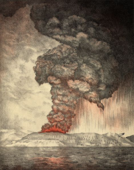 This beautiful illustration was completed five years after the 1883 eruption of Krakatoa, based on eyewitness accounts of the event. Illustration from The eruption of Krakatoa, and subsequent phenomena. Report of the Krakatoa Committee of the Royal Society (1888)