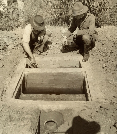 The construction of latrines hasn't changed too much since this example was built in 1917. Latrines safely isolate waste and prevent germs from leaching into water or food supplies. Latrines are almost always accompanied by a handwashing facilities. Photograph courtesy National Geographic