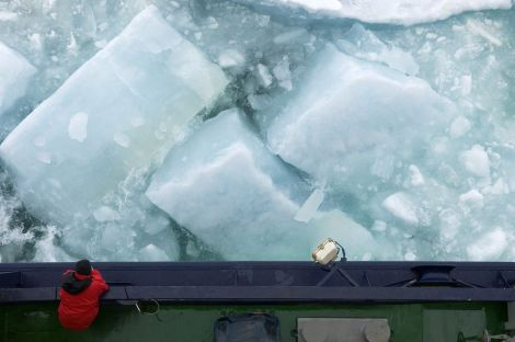 Arctic shrinkage indicates that the North Pole, part of the Northern Sea Route, may be seasonally free of ice within the next 50 years. That means icebreakers like this one may not be needed to carve through the 2-meter (6-foot) thick icepack near the pole. MyShot photograph by Chris Linder, Woods Hole Oceanographic Institution.