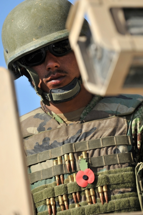 A soldier of the Afghan National Army (ANA) wears a poppy out of respect for Remembrance Day and his own fallen comrades. Photograph by Sgt. Steve Blake, Royal Logistic Corps (British Army)