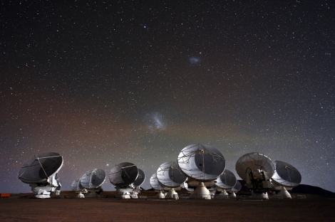 This gorgeous image shows some of ALMA's telescopes, hard at work. Those two dusty smudges in the starry sky are the Large and Small Magellanic Clouds—dwarf galaxies we can't see here at Nat Geo headquarters in the Northern Hemisphere. Photograph by Christoph Malin, ESO Photo Ambassador