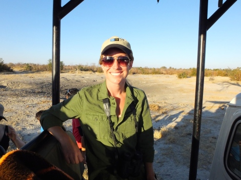 2013 Grosvenor Teacher Fellow Megan Swanson in Nata, Botswana. Photograph courtesy of Deborah Bennett.