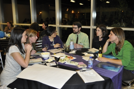 A group of educators from across Chicago brainstorm geo-education activities. Photograph by Alison Szopinski