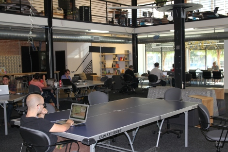 This office space, PARISOMA, is a coworking space and business incubator in the tech hub of San Francisco. Photograph by Msingularian, courtesy Wikimedia. (CC-BY-SA-3.0)