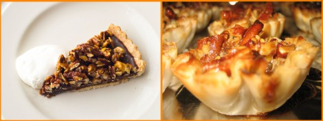 Would you finish off with a chocolate pecan pie from Alabama? Or a maybe a Florida pecan tart? Photographs by Susan Seubert (left), National Geographic, and Katy Warner (right), courtesy Wikimedia. (CC-BY-SA-2.0)