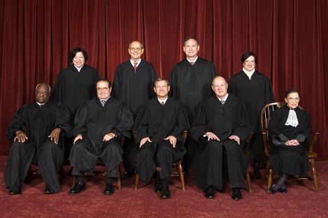 Ladies and gentlemen, the Supremes: (top row) Associate Justice Sonia Sotomayor, Associate Justice Stephen G. Breyer, Associate Justice Samuel A. Alito, and Associate Justice Elena Kagan. (bottom row) Associate Justice Clarence Thomas, Associate Justice Antonin Scalia, Chief Justice John G. Roberts, Associate Justice Anthony Kennedy, and Associate Justice Ruth Bader Ginsburg. Photograph by Steve Petteway, courtesy the Supreme Court of the United States