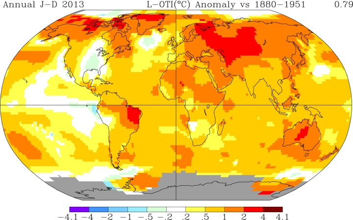 Let the good folks at NASA's Goddard Institute for Space Studies help you track the world's temperature changes with this cool map-generating interactive feature. This map tracks 2013's temperature anomalies compared to the period between 1880 and 1951—generally before large-scale carbon emissions. Map courtesy NASA Goddard Institute for Space Studies (GISS Surface Temperature Analysis)