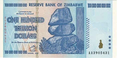 """Hyperinflation, the rapid increase in the prices of goods and services, led the Zimbabwean government to abandon the Zimbabwe dollar in 2009. $100 trillion bills like this one were a mark of runaway inflation—the reason why a central bank governor described Zimbabwe as a """"financially traumatized society."""" Photograph by Marianian, courtesy Wikimedia. According to clause 50 of the Copyright Act of Zimbabwe, Chapter 26:1, this work is in the public domain because it is either an image of a banknote which has been demonetized in terms of the Reserve Bank of Zimbabwe Act Chapter 22:10, or an image of a coin or the artistic work defining the design of a coin."""