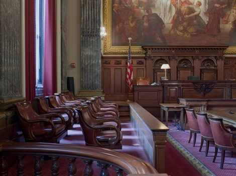 This distinguished federal courtroom in Cleveland, Ohio, features a large mural behind the judge's bench and jury box. Photograph courtesy the National Archives