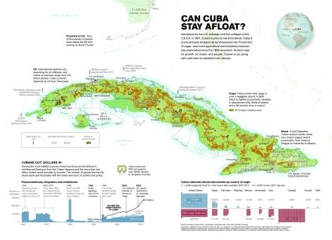 "The establishment of diplomatic relations will likely have a positive impact on Cuba's economy, depicted here on a 2012 Nat Geo map. The banking, tourism, and agricultural industries will probably be the most affected sectors of the economy. (The map suggests listening to ""Cuban native and NGS cartographer Juan Valdes narrate an emigration time line. You can watch a video here!) Map by Martin Gamache, National Geographic"