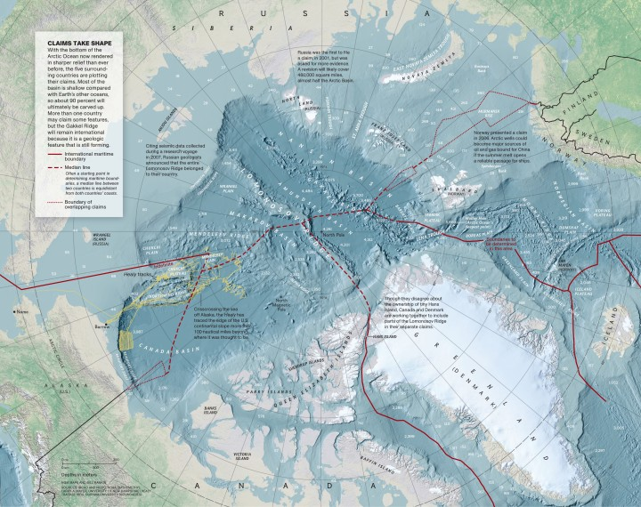 With the bottom of the Arctic Ocean now rendered in sharper relief than ever before, the five surrounding countries are plotting their claims. Click to enlarge this beautiful Nat Geo map! Map by Bill Rankin, National Geographic. View this map on our website.