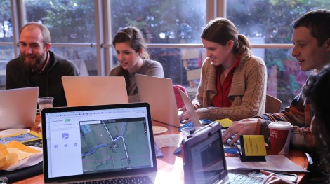 Members of the U.S. Department of State, USAID, OpenStreetMap and National Geographic gathered during the GeoWeek Mapping Party
