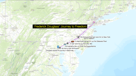 Your map might look something like this. (We approximated his journey using modern rail lines—this is just a guide, not an accurate map of Douglass' actual trip.)