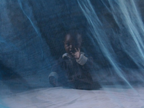 Malaria is entirely preventable, but remains a leading cause of illness and death throughout sub-Saharan Africa. According to the World Health Organization, in 2013, an estimated 437,000 African children died before their fifth birthday due to malaria. Blue-tinted long-lasting insecticide-treated nets (LLINs), draped over sleeping areas, are crucial weapons in battling the disease. Photograph courtesy USAID/Wendy Stone