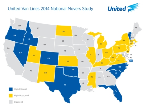 Map courtesy the United Van Lines Movers Study Press Kit