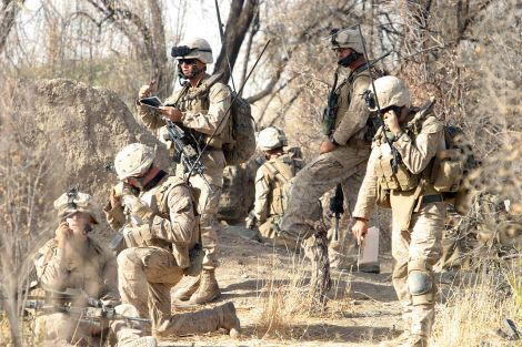 Limiting the influence of the Taliban was a major goal of the U.S. military in Afghanistan. Use these 10 simple points to better understand the Taliban in Afghanistan. Here, U.S. Marines communicate with their command operation center during a raid on a Taliban headquarters. The Marines are from Foxtrot Company, 2nd Battalion, 7th Marine Regiment. Pictured left to right, top to bottom: 1st Lt Doug Ferreira (Fire Support Team Leader), Captain Ross Schellhaas (Company Commander), LCpl Schultz (Radio Operator), LCpl Branch (Forward Observer), Captain Jon Jordon (Forward Air Controller). Photograph by Sgt. Freddy G. Cantu, U.S. Marine Corps, courtesy Wikimedia.