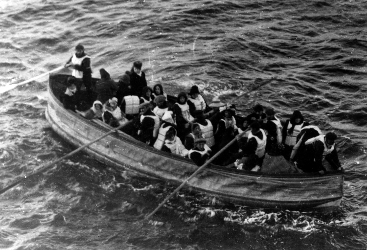 Lifeboat 1 was a wooden emergency boat that was equipped to hold 40 people. It carried only 12, the lowest number of any Titanic lifeboat. (Read more about Titanic's lifeboats here.) This is not Lifeboat 1, but a similarly sized vessel, Collapsible Boat D—the last lifeboat successfully launched from the Titanic. (This truly amazing photograph was taken by a passenger of the Carpathia, the ship that received the Titanic's distress signal and came to rescue survivors like these.) Photograph courtesy National Archives—Northeast Region, New York City, Records of District Courts of the United States