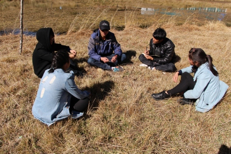 Student group discussing ways to offset pollution caused by tourism. Photo by QW Sun.