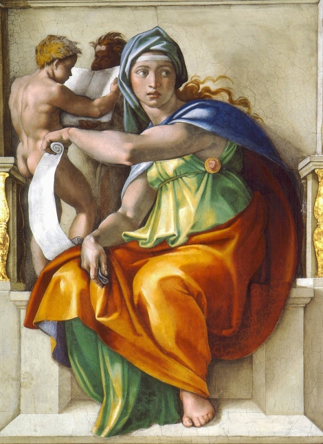 "Isn't she beautiful? Michelangelo Buonarroti painted this depiction of the Delphic sibyl in 1509, about a year or two after he may have sculpted the so-called ""Rothschild Bronzes."" (Sibyls were oracles or prophets, and this one worked in ancient Delphi, Greece.) She is part of the ceiling of the Sistine Chapel, part of the Vatican in Rome, Italy. Fresco by Michelangelo Buonarroti (Sistine Chapel, Vatican City)"