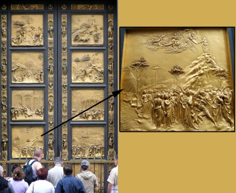 "The metalsmith Lorenzo Ghiberti sculpted bronze bas-reliefs for the doors of the baptistry of the Florence Cathedral (the Duomo). Michelangelo called these doors the ""Gates of Paradise."" (The close-up panel is Moses receiving the Ten Commandments in what generously seems more like Renaissance Tuscany than the prehistoric Negev.) Photographs by Eteru (doors) and Kandi (Moses), courtesy Wikimedia. Both CC-BY-SA 3.0"