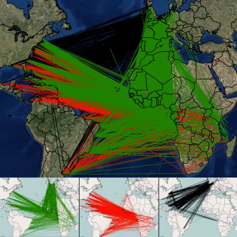 "Behold the Triangle Trade. The first leg of the triangle, represented here in green, was usually from a European or New World port to Africa, in which ships carried supplies for sale and trade, such as cloth, beads, guns, and ammunition. When the ship arrived, its cargo would be sold or bartered for slaves. On the second leg, represented here in red, slave ships made the harrowing ""Middle Passage"" from Africa to the New World. (Dig deeper with AfricaMap's layers on the second leg, outlining human trafficking by nationality, number of people exported, and the year of the voyages—these are my favorite, and most devastating, layers of the map.) The third leg of the triangle, represented here in black, took the ships back to their home port with cargoes of sugar, rum, molasses, tobacco, and hemp."