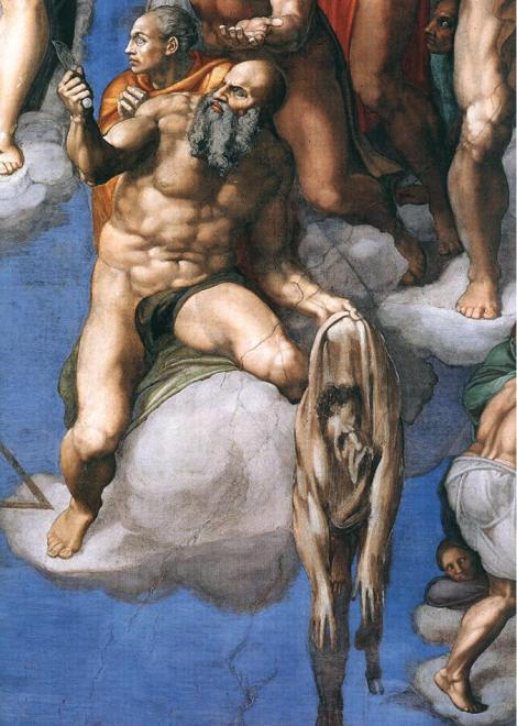 The sagging skin of St. Bartholomew is allegedly a self-portrait of Michelangelo. Fresco by Michelangelo Buonarroti (The Last Judgement, Sistine Chapel, Vatican City)