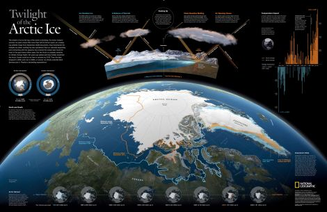 Decades of scientific research has documented the phenomenon of Arctic shrinkage. Arctic shrinkage includes the melting of the Greenland ice sheet, warmer temperatures, and a loss of sea ice. Map by National Geographic