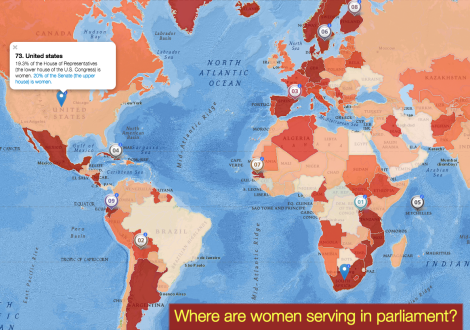 "Today's MapMaker Interactive map uses our ""women in parliament"" layer. The layer (based on data from 2013) displays the percentage of women in a nation's parliament. If a nation has two houses of parliament, the information is based on representation in the lower house of parliament. The lower house of parliament usually wields more power in government. The United States has two legislative houses as part of Congress. The House of Representatives is the lower house of Congress. The Senate is the upper house."