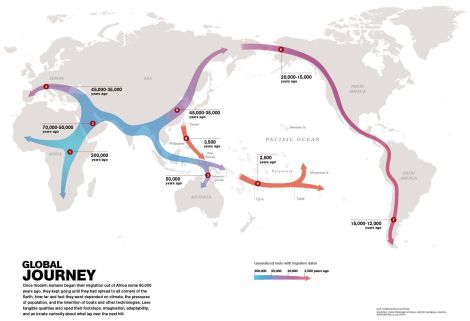 "Click on the image to visit our beautiful 13-second video spotlight of the ""Global Human Journey."" Map by National Geographic"