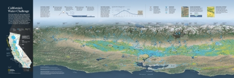 "Download this spectacular Nat Geo map to understand ""California's Water Challenge"" and how droughts can impact entire regions. Map by National Geographic"