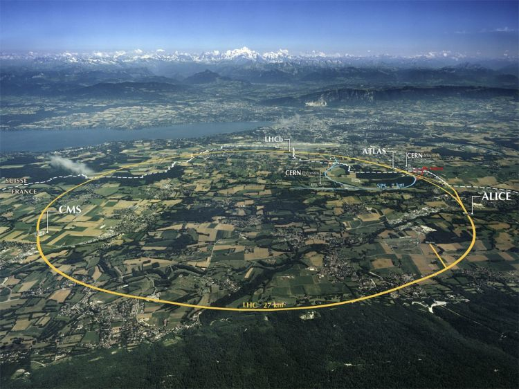"This map of the CERN facility near the border of France and Switzerland identifies the following experiments being conducted there: CMS (Compact Muon Solenoid); LHCb (Large Hadron Collider beauty); ATLAS (A Toroidal LHC Apparatus); SPS (Super Proton Synchrotron); PS (Proton Synchrotron); and ALICE (A Large Ion Collider Experiment). CERN's two main sites—in Prevessin, France, and Merin, Switzerland—are also marked. The large yellow circle identifies the underground path of the Large Hadron Collider (LHC), the ""biggest science experiment in the world."" Photograph by Maximilien Brice (CERN). CC-BY-SA-4.0 See the original image, and download the full size from CERN's website."